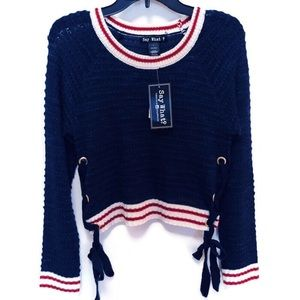 Say What? Cropped Navy Sweater,  NWT Jrs. SZ L